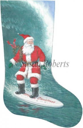 click here to view larger image of Surfer Santa Stocking - 18ct (hand painted canvases)