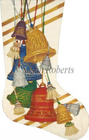 click here to view larger image of Bells Stocking (hand painted canvases)