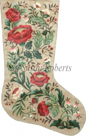 click here to view larger image of Christmas Floral Stocking (hand painted canvases)