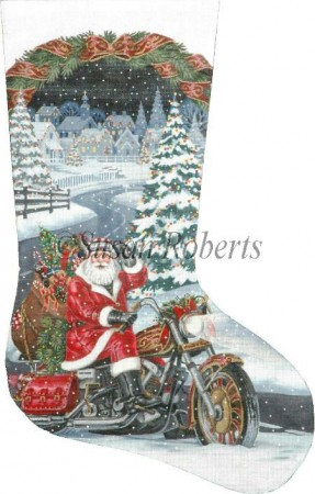 click here to view larger image of Biker Santa Stocking (hand painted canvases)