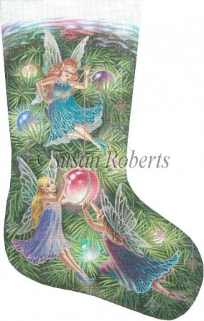 click here to view larger image of Christmas Fairies Stocking (hand painted canvases)