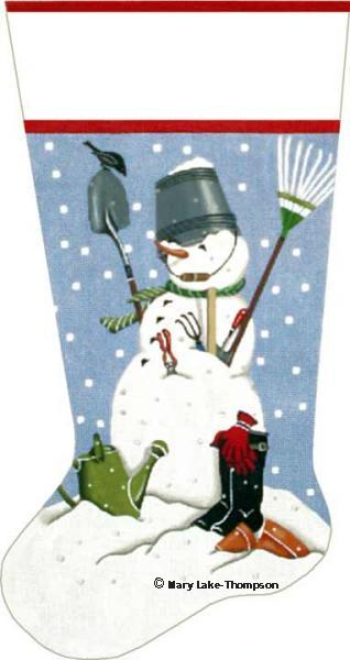 click here to view larger image of Garden Snowman Stocking (hand painted canvases)