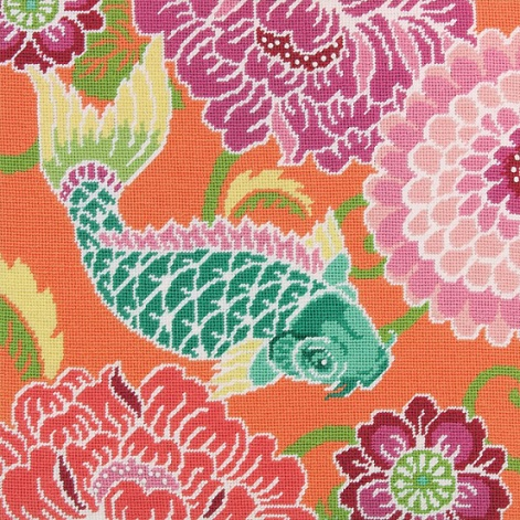 click here to view larger image of Koi with Flowers (needlepoint kits)