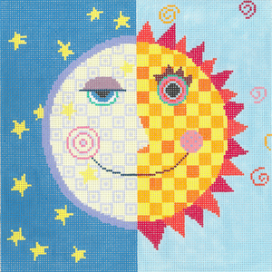 click here to view larger image of Moon and Sun (hand painted canvases)