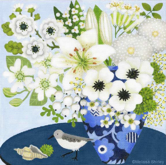 click here to view larger image of Blue Table Bouquet (hand painted canvases)