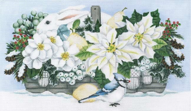 click here to view larger image of Winter White Basket (hand painted canvases)