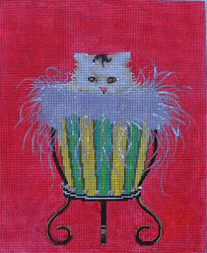 click here to view larger image of Cat in Urn (hand painted canvases)