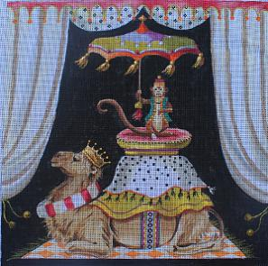click here to view larger image of Monkey on Camel (hand painted canvases)