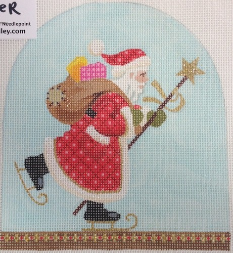 click here to view larger image of Christmas Snowdome - Skating Santa (hand painted canvases)