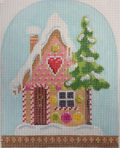 click here to view larger image of Christmas Snowdome - Gingerbread House (hand painted canvases)