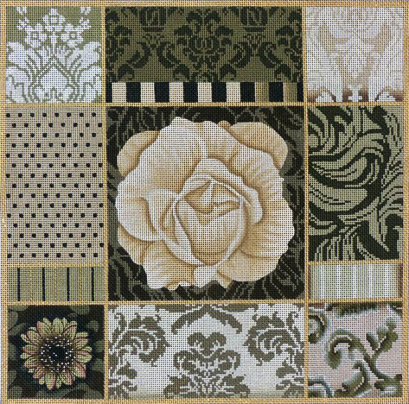 click here to view larger image of Umber Floral Collage (hand painted canvases)