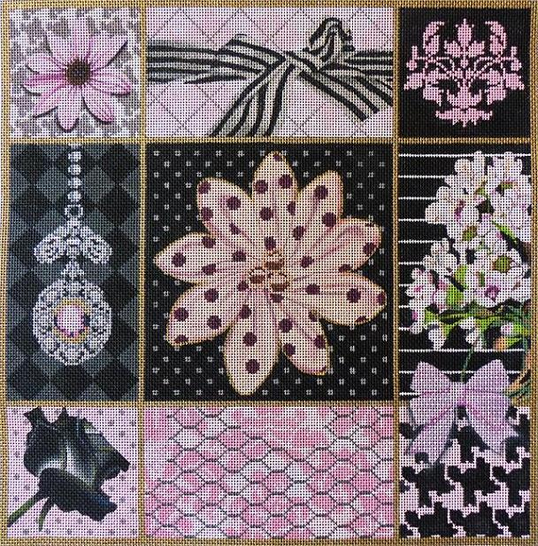 click here to view larger image of Pink and Black Collage (hand painted canvases)