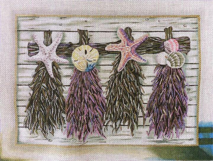 click here to view larger image of Purple Beach Floral (hand painted canvases)