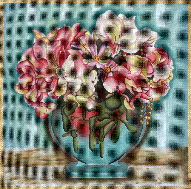 click here to view larger image of Aqua Floral Arrangement (hand painted canvases)