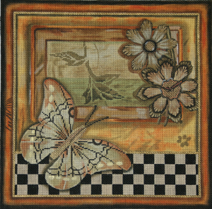 click here to view larger image of Rustic Butterfly Collage (hand painted canvases)