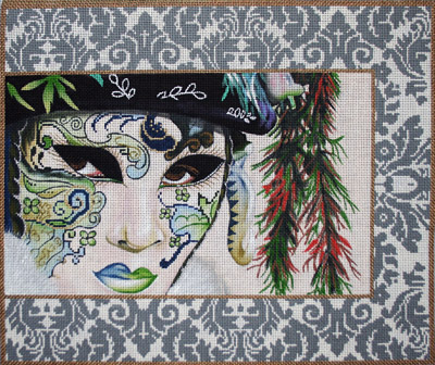 click here to view larger image of Gray Damask Mask (hand painted canvases)