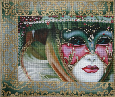 click here to view larger image of Dark Green Damask Mask (hand painted canvases)