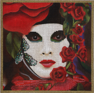 click here to view larger image of Rose Carnivale Mask (hand painted canvases)