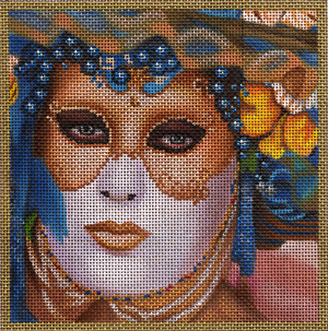 click here to view larger image of Small Gold and Blue Mask (hand painted canvases)