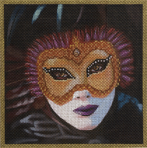 click here to view larger image of Black Feather Mask (hand painted canvases)