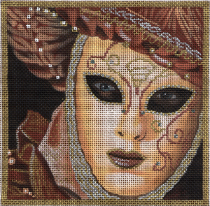 click here to view larger image of Small Dusty Rose Mask (hand painted canvases)
