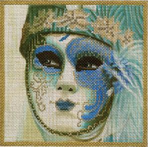 click here to view larger image of Small Aqua Mask (hand painted canvases)