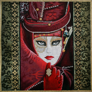 click here to view larger image of Burgundy Carnivale Mask (hand painted canvases)