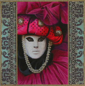 click here to view larger image of Magenta Carnivale Mask (hand painted canvases)