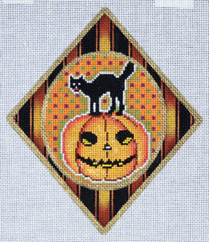 click here to view larger image of Black Cat on Pumpkin Ornament (hand painted canvases)