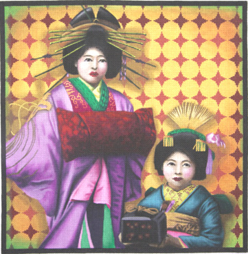 click here to view larger image of Colorful Geishas (hand painted canvases)