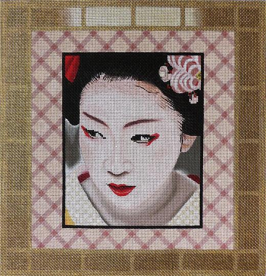 click here to view larger image of Gold Geisha Square 1 (hand painted canvases)