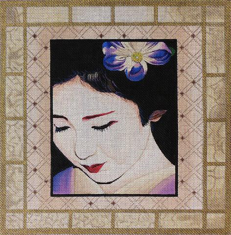 click here to view larger image of Gold Geisha Square 2 (hand painted canvases)