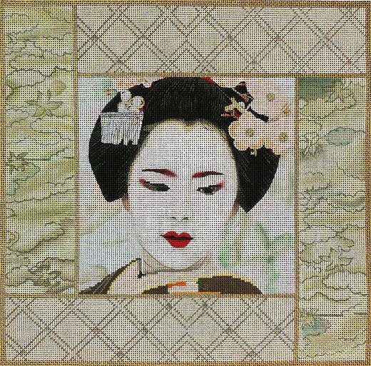 click here to view larger image of Pale Green Geisha Square (hand painted canvases)