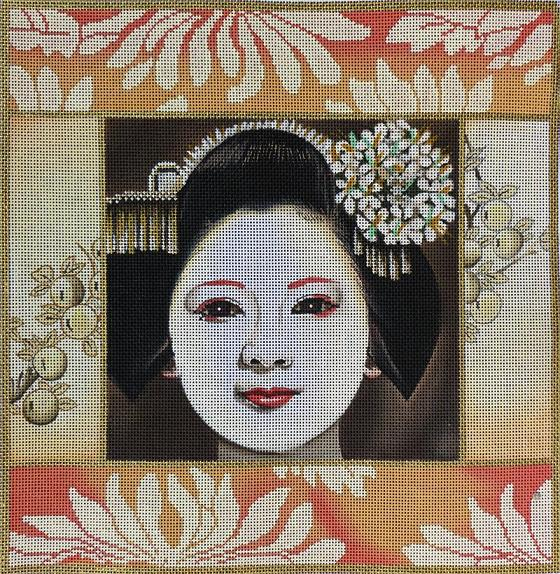 click here to view larger image of Peach Geisha Square (hand painted canvases)