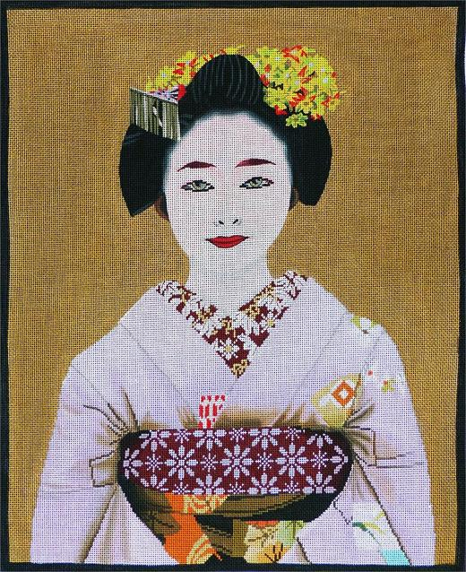 click here to view larger image of Large Geisha Portrait (hand painted canvases)