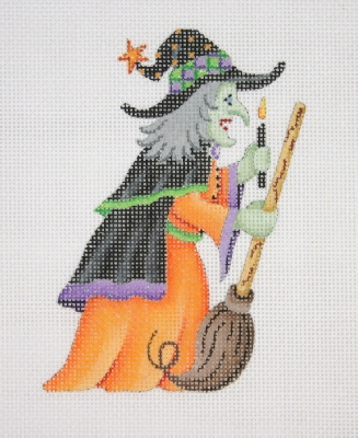 click here to view larger image of Witch With Broom (hand painted canvases)