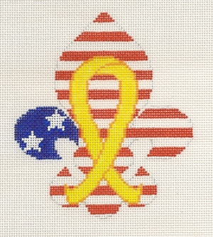 click here to view larger image of Fleur de Yellow Ribbon (hand painted canvases)