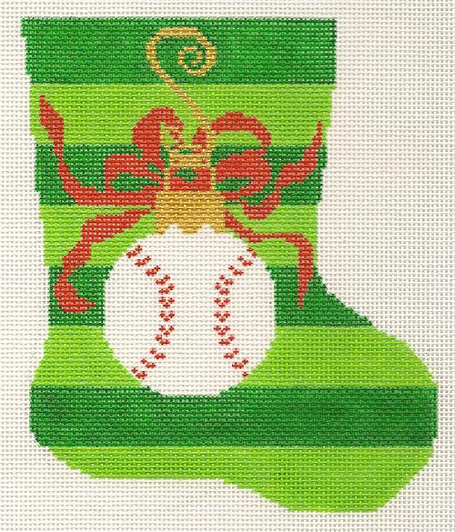 click here to view larger image of Mini Stocking - Baseball (hand painted canvases)
