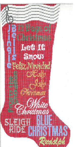 click here to view larger image of Christmas Carol Stocking - Red (hand painted canvases)