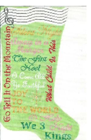 click here to view larger image of Christmas Carol Stocking - Green (hand painted canvases)