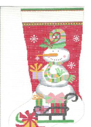 click here to view larger image of Snowman Stocking - Red (hand painted canvases)