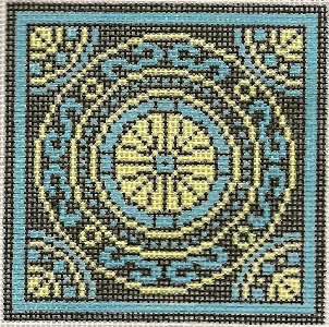 click here to view larger image of May Medallion - Blue Mosiac (hand painted canvases)