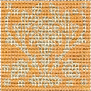 click here to view larger image of June Medallion - Persimmon Pineapple (hand painted canvases)