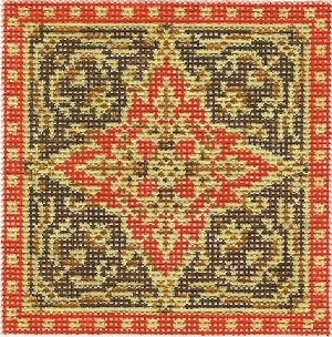click here to view larger image of August Medallion - Royal Red Star (hand painted canvases)