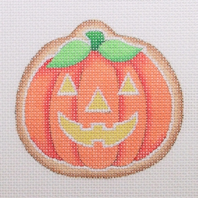 click here to view larger image of Halloween Cookie - Fat Pumpkin / Jack-O-Lantern Face (hand painted canvases)