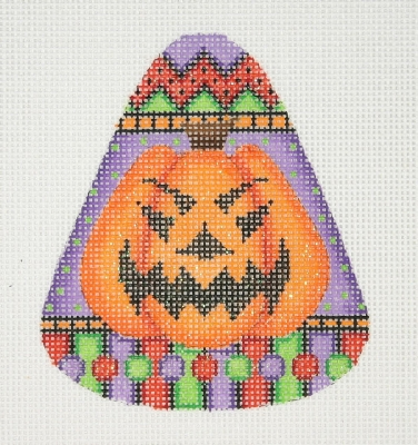 click here to view larger image of Candy Corn Shaped Pumpkin (hand painted canvases)