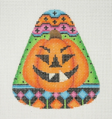 click here to view larger image of Candy Corn Shaped Pumpkin 2 (hand painted canvases)