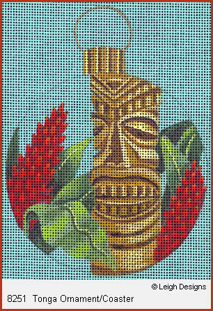 click here to view larger image of Tonga Ornament Coaster (hand painted canvases)