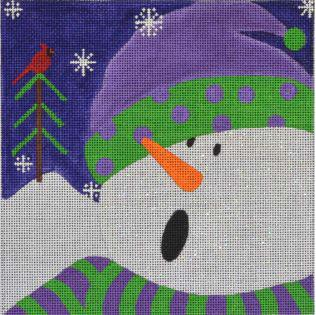 click here to view larger image of Graphic Snowman Polka Dots (hand painted canvases)