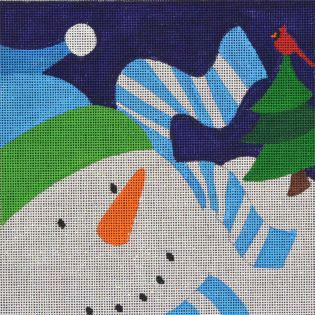click here to view larger image of Graphic Snowman Stripes (hand painted canvases)